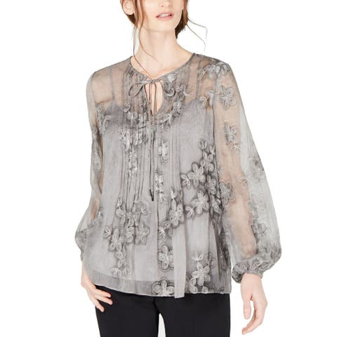 Tahari Women's Blouse Gray Size Large L Pintucked Embroidered Tie Neck