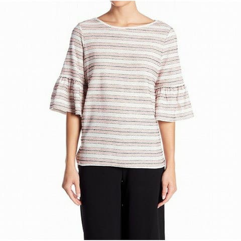 Max Studio White Pink Womens Size Medium M Embroidered Striped Top