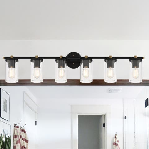 6 Light 45 Inch Modern Farmhouse Rustic Bathroom Vanity Lights