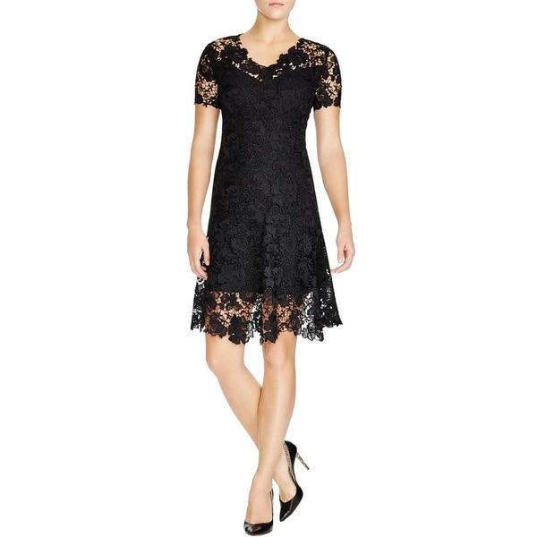 Elie Tahari Womens Samira  Casual Dress Lace Short Sleeves