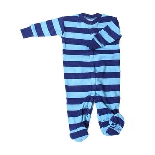New Jammies Baby Boys Navy Light Blue Stripe Organic Cotton Footie Romper