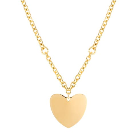 """Italian-Made Polished Curved Heart Pendant in 18K Gold-Plated Bronze, 18"""" - Yellow"""