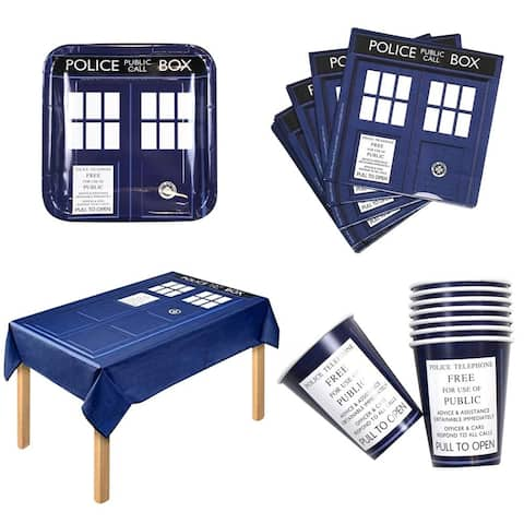 Doctor Who Party Bundle For 16 With Table Cloth, Paper Plates & Cups And More - Multi