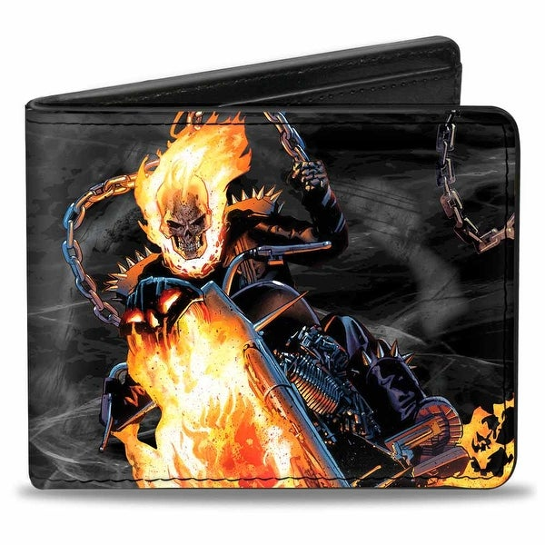 Marvel Universe Ghostrider Riding Pose + Skull Smoke Black Grays Flames Bi Bi-Fold Wallet - One Size Fits most