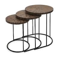 "Set of 3 Tavolini Estraibili Brown and Black Coconut Shell Nesting Tables 23.75"""