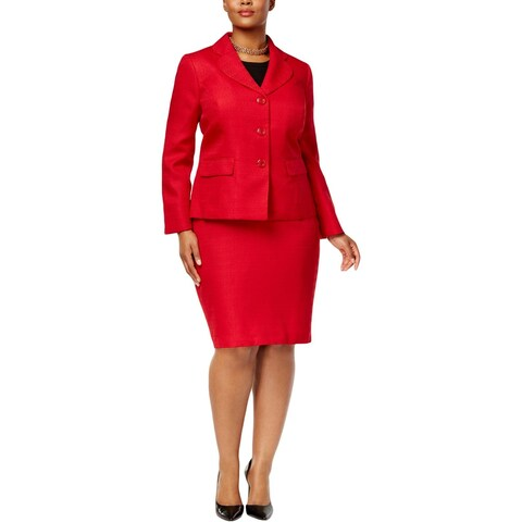 Le Suit Womens Plus Skirt Suit Tweed Three Button
