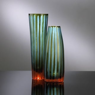 "Cyan Design 1128 11.5"" Large Cyan And Orange Striped Vase"