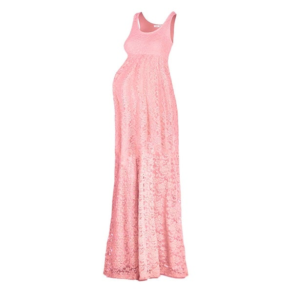 4296aeb72a Shop Beachcoco Pink Womens Size Medium M Maternity Lace Maxi Dress - Free  Shipping On Orders Over  45 - Overstock - 27213525