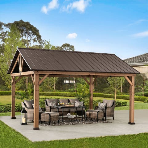 Sunjoy 12 ft. x 14 ft. Cedar Framed Gazebo with Gable Roof