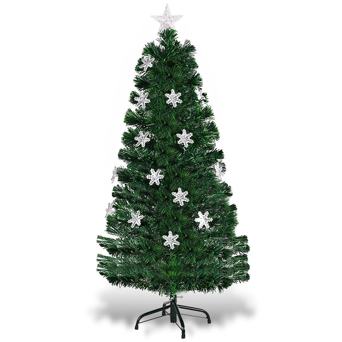 4 Ft Christmas Tree.Costway 4ft Pre Lit Fiber Optic Artificial Christmas Tree W Multicolor Lights Snowflakes