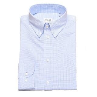 Armani Collezioni Men Modern Fit Cotton Point Dress Shirt Blue White
