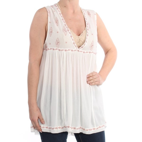 4560d28271bf3 Shop FREE PEOPLE Womens Ivory Diamond Embroidered Sleeveless V Neck Blouse  Top Size  M - Free Shipping On Orders Over  45 - Overstock - 27762335