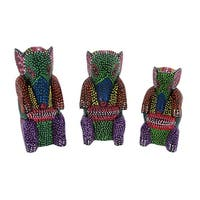 Set of 3 Wooden Dot Painted Elephant Figurines - Multicolored