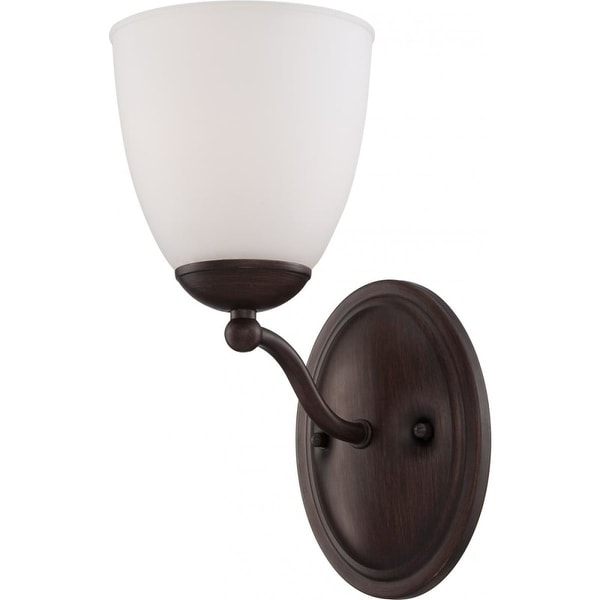 Nuvo Lighting 60/5131 Patton Single-Light Bathroom Fixture with Frosted Glass Shade - prairie bronze