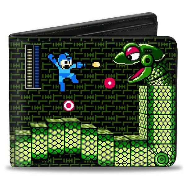 Megaman Game Play Scene Snakey Bi Fold Wallet - One Size Fits most