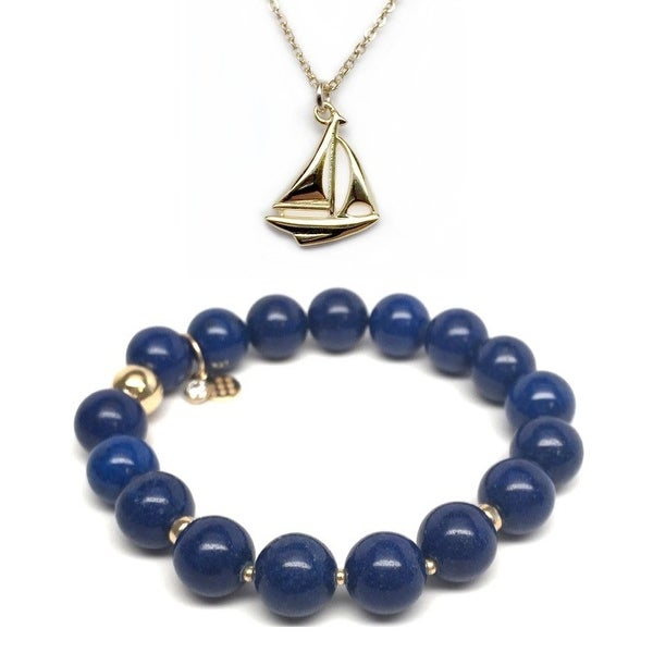 Blue Jade Bracelet & Sailboat Gold Charm Necklace Set