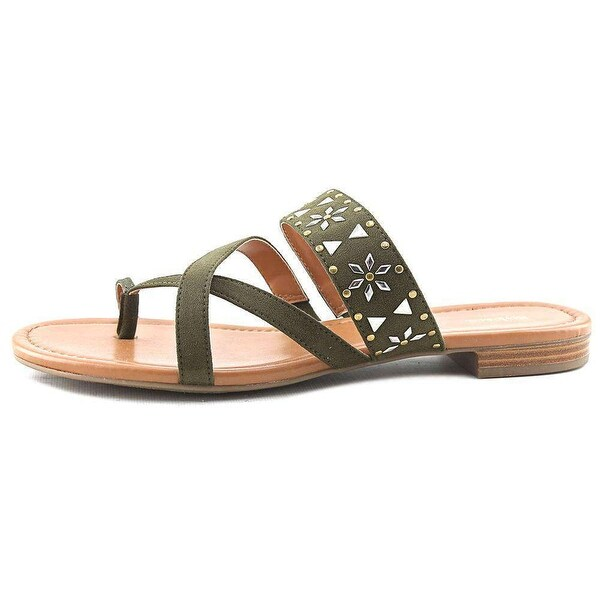Style & Co. Womens Behati Split Toe Casual Slide Sandals, Black, Size 7.5