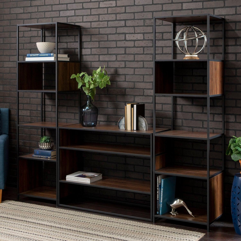 Offex 3 Piece Rustic Industrial Bookcase Set In Wood Grain Finish Dark Walnut