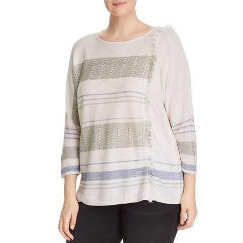 Nic+Zoe Womens Sweater White Ivory Size 2X Plus Fringe Juniper Pullover