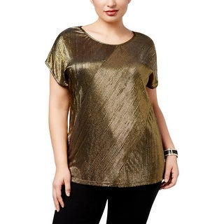 NY Collection Womens Plus Blouse Metallic Pleated