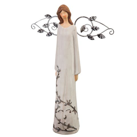"12"" Nature's Promise, Angel and Vine Ceramic Statuary"