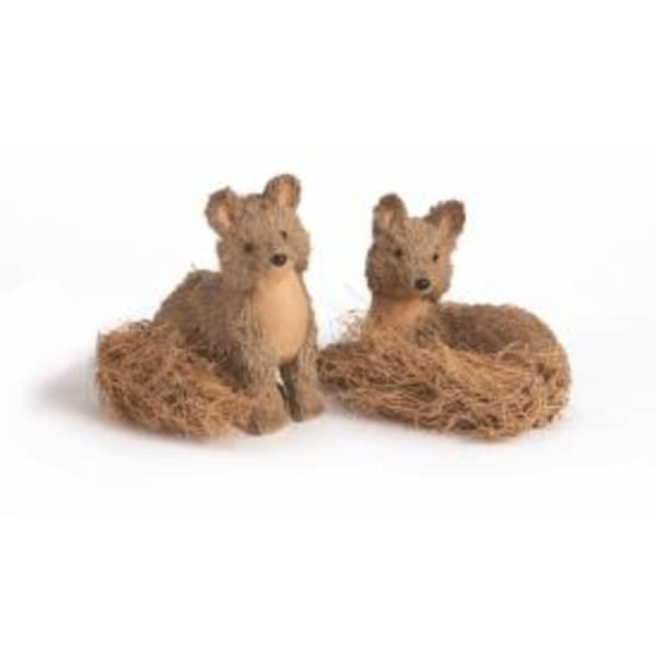 """8.5"""" Country Cabin Jute and Sisal Sitting Fox Christmas Table Top Decoration"""