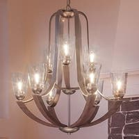 """Luxury Vintage Chandelier, 34""""H x 31""""W, with Old World Style, Chocolate Stained Wood Design, Brushed Nickel Finish"""