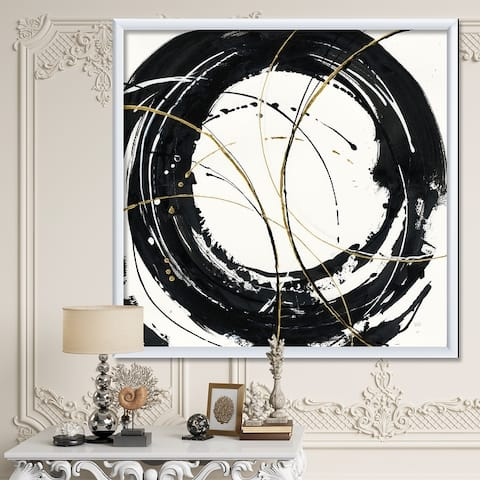 Designart 'Gold Metallic Circle' Modern Glam Framed Art Print