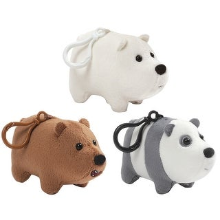 "We Bare Bears 2.5"" Plush Backpack Clips, Set of 3: Grizz, Ice Bear, Panda - multi"