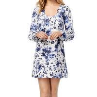 Kensie White Women's Size Medium M Floral Drawstring Shift Dress