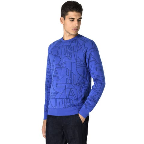 Armani Jeans Mens Eagle Logo Sweatshirt Large Electric Blue
