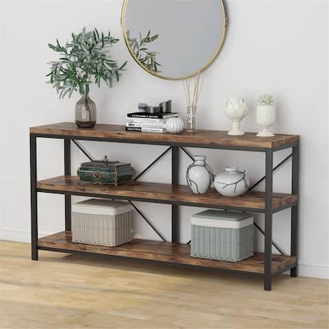 55 Sofa Console Table, Narrow Long Sofa Table with Storage Shelf