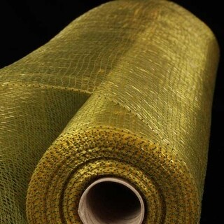 "Green and Gold Deco Mesh Craft Ribbon 21"" x 40 Yards"