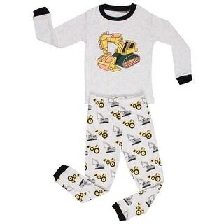 Elowel Boys Grey Yellow Bulldozer Print Cotton 2 Pc Pajama Set