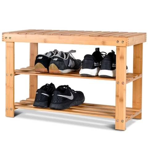 Costway 2-Tier Bamboo Shoe Bench Storage Racks Seat Organizer Entryway - 27.5''x11.0''x18.0''