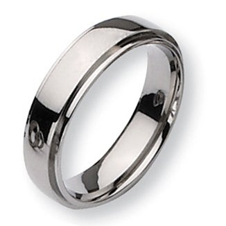 Chisel Ridged Edge Polished Titanium Ring (6.0 mm)