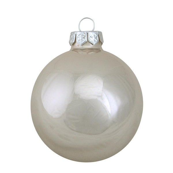 "12ct Pearl Polar White Glass Ball Christmas Ornaments 2.75"" (70mm)"