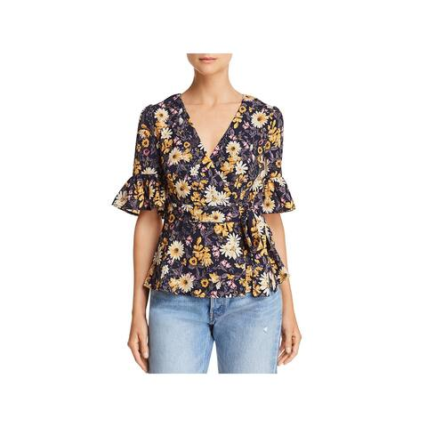 JOA Womens Wrap Top Floral Bell Sleeves