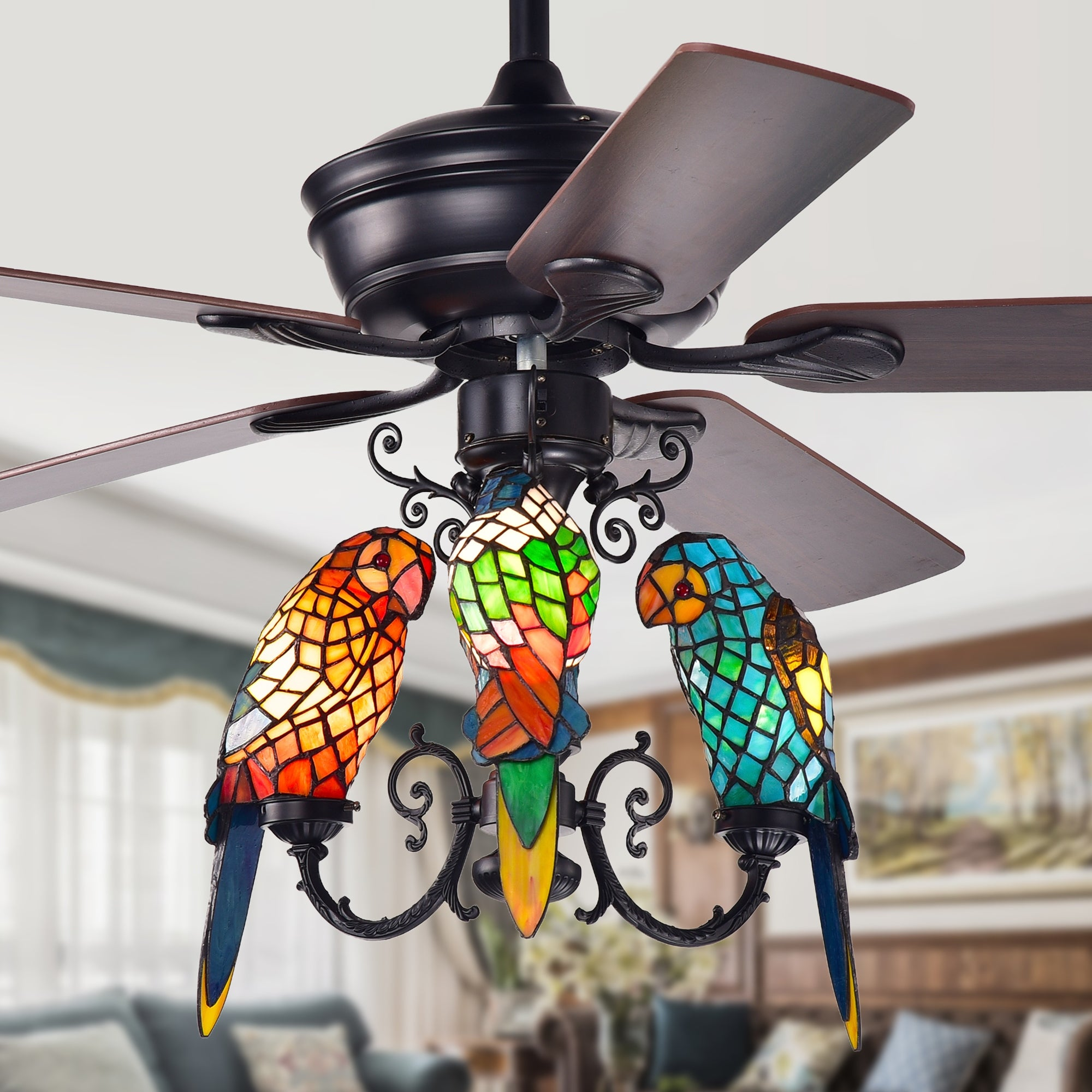 Korubo 52 Inch Lighted Ceiling Fan With Tiffany Style Parrot Shades On Sale Overstock 25994366