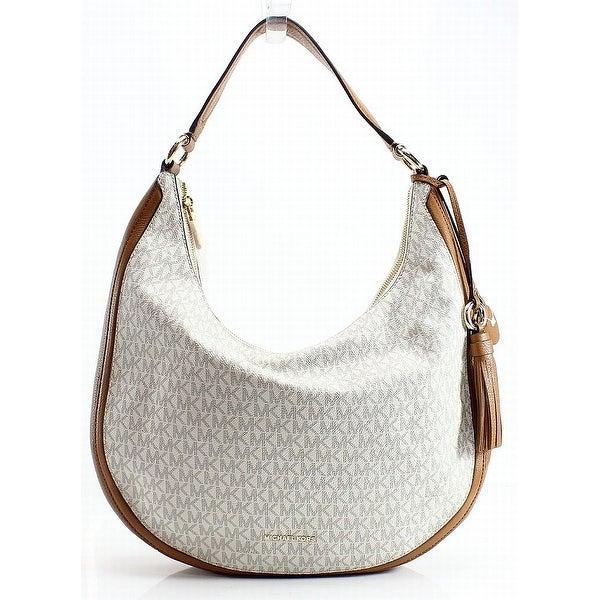 2347c140ac0f Shop Michael Kors Ivory Vanilla PVC Lydia Large Hobo Shoulder Bag ...
