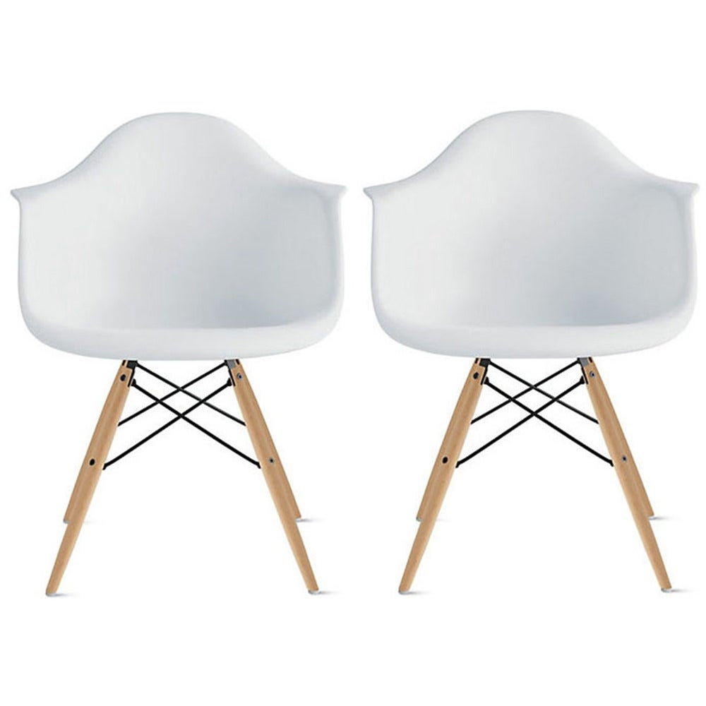 Thumbnail 1, Molded Natural Wood Eiffel Dining Chairs (Set of 2).