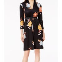 FRENCH CONNECTION Black Women's Size 0 Floral Jersey A-Line Dress