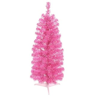 4.5' Pre-Lit Sparkling Pink Artificial Pencil Christmas Tree - Pink Lights