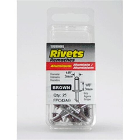 "FPC FPC42AB Brown Aluminum Rivet 1/8""x1/8"" Short, 25/Pack"