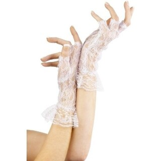Fever Women's Fingerless Lace Gloves, One Size, White, 25042