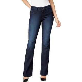 NYDJ Womens Marilyn Straight Leg Jeans Denim Embroidered
