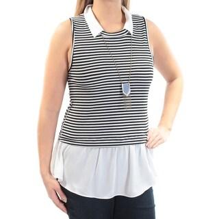 BCX $39 Womens New 1231 Black Ivory Striped Pleated Sleeveless Top L Juniors B+B