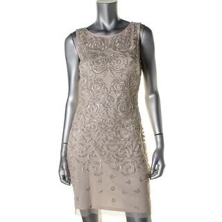 Aidan Mattox Womens Mesh Embellished Cocktail Dress