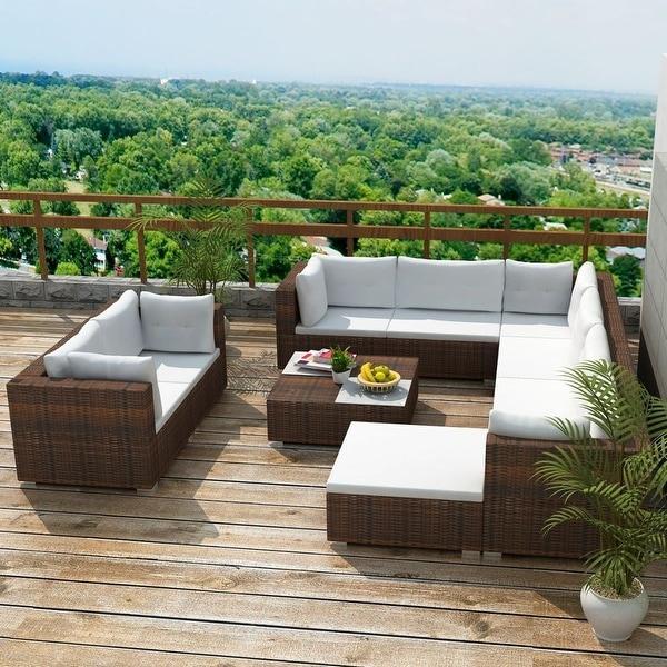 "vidaXL 10 Piece Garden Lounge Set with Cushions Poly Rattan Brown - 28"" x 28"" x 25"""