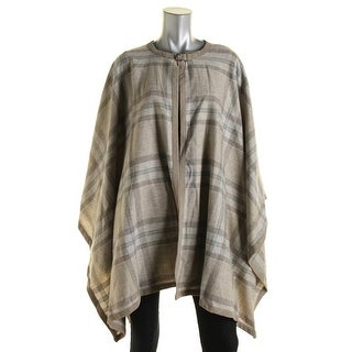 Lauren Ralph Lauren Womens Poncho Suede Trim Plaid